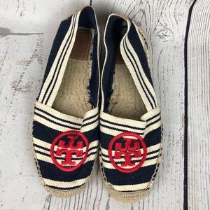 Tory Burch Red White Blue Striped Espadrille Flats